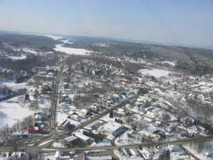 Aerial view of Oakland, Maine